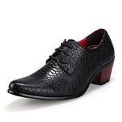 Hombre Zapatos PU microfibra sintético Otoño Invierno Confort Suelas con luz Zapatos formales Oxfords Con Cordón Para Boda Casual Negro