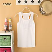 De las mujeres Camiseta Mezclas de Algodón - Sin Mangas