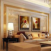 pintura al óleo moderna conjunto girasol abstracta de 2 pintado a mano de lino natural con el marco de estirado