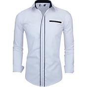 Camisas Casuales ( Algodón Compuesto )- Casual Cuello de camisa Manga Larga
