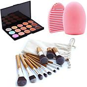 11pcsのメイクアップ化粧品眉毛ファンデーション歌舞伎ブラシキット+ 15色コンシーラーメイクアップパレット+ブラシクリーニングツール