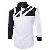 Camisa De los hombres A Rayas Casual-Mezcla de Algodón-Manga Larga-Multicolor