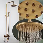 アンティーク調 壁式 滝状吐水タイプ / レインシャワー / ハンドシャワーは含まれている with  真鍮バルブ 二つのハンドル三穴 for  アンティークブロンズ , シャワー水栓