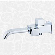 現代風 壁式 滝状吐水タイプ with  セラミックバルブ シングルハンドルつの穴 for  クロム , バスルームのシンクの蛇口