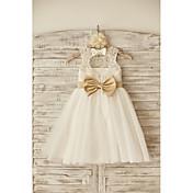 Vestido feminino de princesa vestido de flor com joelho - colher sem mangas de tul com fita por thstylee