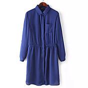 WOMEN - カジュアル - ドレス ( ポリエステル ワイシャツカラー - 長袖