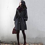 Mulheres Casaco Plus Sizes Outono,Sólido Cinza Algodão / Outros Decote Transpassado-Manga Longa Média