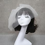 Velos de Boda 2 capas Corto o Blusher Velo para cabello corto Corte de borde 11.81 en (30 cm) Tul Blanco Marfil