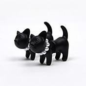 スタッドピアス 真珠 人造真珠 樹脂 アニマル 猫 つや消しブラック ブラック ジュエリー のために 2 個