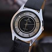 Hombre Reloj de Pulsera Cuarzo Resistente al Agua Piel Banda Negro Blanco Negro
