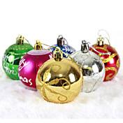 """6pcs / set de 6 cm / 2,4 """"colores y estilos mixtos árbol de navidad decoraciones colgantes bubles brillantes del partido bola ornamentos"""