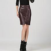 婦人向け ボディコン / カジュアル 膝上 スカート , コットン混 / ポリウレタン マイクロエラスティック