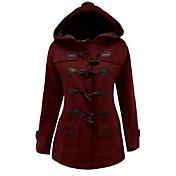 Dámské Jednobarevné Vintage Kabát-Bavlna Zima Kapuce Dlouhý rukáv Červená / Černá / Šedá Tlusté