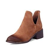 Mujer-Tacón Robusto Plataforma-Plataforma Confort Botas de Equitación Botas a la Moda-Botas-Oficina y Trabajo Vestido Informal-Cuero