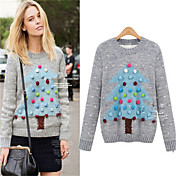 Suéteres ( Algodón )- Casual Redondo Manga Larga para Mujer