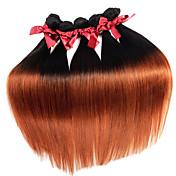El pelo recto sedoso del ombre virginal brasileño teje tramas remy de las extensiones del pelo humano del tono t1b / 30 de 1pcs dos 50g / pcs