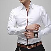 男性用 プレイン カジュアル / プラスサイズ シャツ,長袖 コットン / ポリエステル ブルー / ピンク / ホワイト / グレー