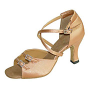 Zapatos de baile (Negro / Marrón / Leopardo) - Latino / Salsa / Samba / Zapatos de Swing - No Personalizables - Tacón Cuadrado