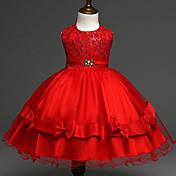 Vestido Chica dePoliéster-Primavera / Otoño-Oro / Rojo
