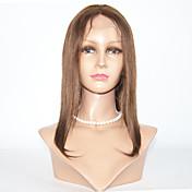 Mujer Pelucas de Cabello Natural Cabello humano Encaje Completo 130% Densidad Liso Peluca Negro Azabache Negro Marrón Oscuro Mediumt Browm
