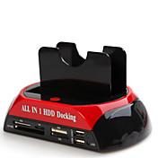 todo en uno USB 2.0 a 2.5 / 3.5 de doble disco duro sata docking station gl02
