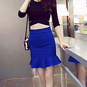 婦人向け セクシー / カジュアル 膝上 スカート , ポリエステル 伸縮性あり