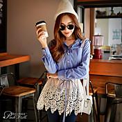 De las mujeres Simple Casual/Diario Primavera Camisa,Cuello Camisero Retazos Manga Larga Algodón / Nailon / Licra Azul Medio