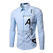 Camisa De los hombres Estampado Casual-Poliéster-Manga Larga-Multicolor