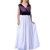 Vestido Chica deUn Color-Poliéster-Verano-Morado