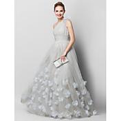 Corte en A Un Hombro Larga Tul Baile de Promoción Evento Formal Vestido con Flor(es) En Cruz por TS Couture®