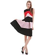 婦人向け シンプル Aライン ドレス,ストライプ 膝上 ラウンドネック コットン / ポリエステル