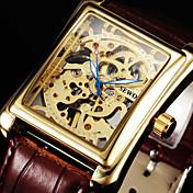 Pánské Náramkové hodinky mechanické hodinky Mechanické manuální natahování S dutým gravírováním Kůže Kapela Luxusní Černá Hnědá