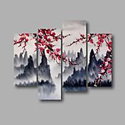 Ručně malované Abstraktní / Krajina / Abstraktní krajinkaModerní Čtyři panely Plátno Hang-malované olejomalba For Home dekorace