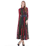 婦人向け シンプル シース ドレス , パッチワーク マキシ ラウンドネック シルク / コットン / ポリエステル