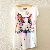 De las mujeres Bonito Casual/Diario Para Todas las Temporadas Camiseta,Escote Redondo Floral Manga Corta Algodón Multicolor Medio