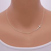 Dámské Náhrdelníky s přívěšky Slitina Cross Shape Bokem minimalistický styl Stříbrná Zlatá Šperky Denní Ležérní 1ks