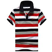 メンズ その他 日常 カジュアル スポーツ 夏 Polo,シンプル 活発的 シャツカラー ストライプ 綿100% 半袖 ミディアム