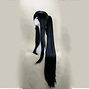 パーティーのためにポニーテール120センチメートル超ロングストレート人工毛かつらのスーツとキャップレス黒コスプレウィッグ