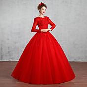 Princess Svatební šaty Na zem Klenot Krajka / Tyl s Korálky / Křišťál / Krajka / Vzor