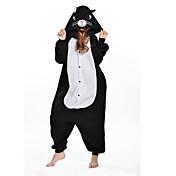 Kigurumi Pijamas nueva Cosplay® Gato Leotardo/Pijama Mono Festival/Celebración Ropa de Noche de los Animales Halloween Negro RetazosLana