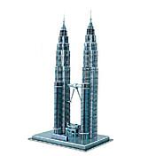Rompecabezas Puzzles 3D Bloques de construcción Juguetes de bricolaje Edificios famosos Papel Azul Modelismo y Construcción