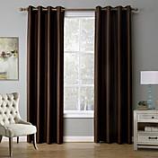 ワンパネル 現代風 純色 ブラック / レッド / コーヒー ベッドルーム ポリエステル 遮光カーテンドレープ
