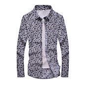 男性用 プリント カジュアル / フォーマル シャツ,長袖 コットン ホワイト