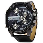 Masculino Relógio Militar Relógio de Pulso Dois Fusos Horários Três Fusos Horários Quartzo Couro Banda Luxuoso Preta
