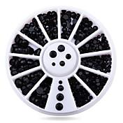 1wheel čistě černé kamínky 3d nehtů ozdoby
