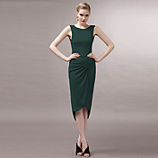 joannekitten®女性のセクシーなクルーネック非対称のプリーツハイロードレス