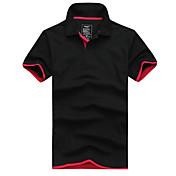 男性用 半袖 ポロシャツ,コットン カジュアル / オフィス / スポーツ カラーブロック