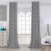 Dva panely Moderní S proužky Černá Obývací pokoj Bavlna Panel Záclony závěsy
