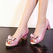 Mujer Chica Semicuero Primavera Verano Otoño Casual Vestido Fiesta y Noche Pajarita Tacón Robusto Talón de bloque Blanco Rosa2'5 - 4'5