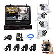 10インチの画面のプラグをyanse®と無線NVRキットP2Pの720pのHD赤外線ナイトビジョンセキュリティIPカメラ無線LAN CCTVシステムを再生